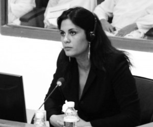 Image shows Neary Ouk testifying at Duch's trial, August 2009