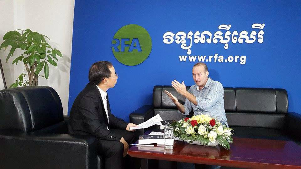 Image of author interviewed on Radio Free Asia